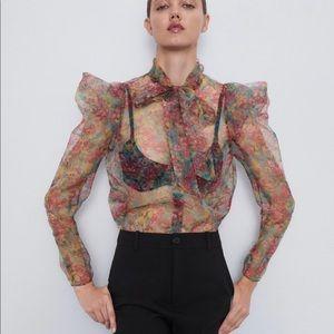 Floral Print Organza Blouse - Zara